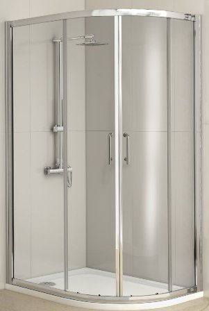 KIRBY SEBASTIAN BARCELONA POLISHED ALUMINIUM 2 SLIDING DOOR 1000mm x 800mm OFFSET QUADRANT SHOWER CUBICLE, BAR1080QU